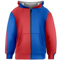 Red And Blue Kids Zipper Hoodie Without Drawstring