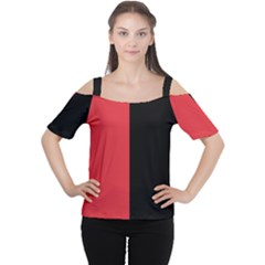 Red And Black Cutout Shoulder Tee