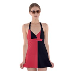 Red And Black Halter Dress Swimsuit