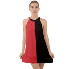 Red And Black Halter Tie Back Chiffon Dress