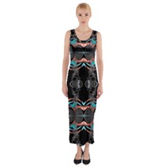 Fractal Math Design Backdrop Fitted Maxi Dress