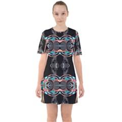 Fractal Math Design Backdrop Sixties Short Sleeve Mini Dress