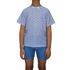 Vibrant Red And Blue Triangle Grid Kids  Short Sleeve Swimwear
