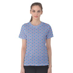 Vibrant Red And Blue Triangle Grid Women s Cotton Tee
