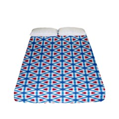 Vibrant Red And Blue Triangle Grid Fitted Sheet (full/ Double Size) by jumpercat