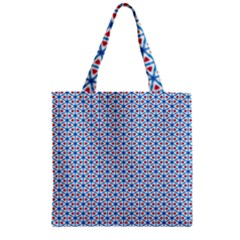 Vibrant Red And Blue Triangle Grid Zipper Grocery Tote Bag