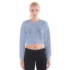 Vibrant Red And Blue Triangle Grid Cropped Sweatshirt
