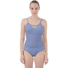 Vibrant Red And Blue Triangle Grid Cut Out Top Tankini Set