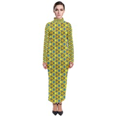 Mechanical Pattern Turtleneck Maxi Dress