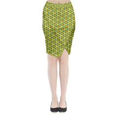 Mechanical Pattern Midi Wrap Pencil Skirt