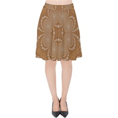 Fractal Pattern Decoration Abstract Velvet High Waist Skirt