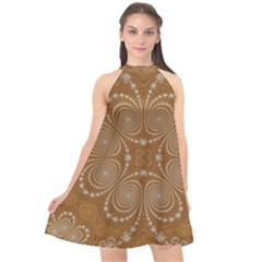 Fractal Pattern Decoration Abstract Halter Neckline Chiffon Dress