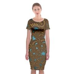 Fractal Abstract Pattern Classic Short Sleeve Midi Dress