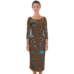 Fractal Abstract Pattern Quarter Sleeve Midi Bodycon Dress