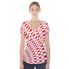 Graphics Pattern Design Abstract Short Sleeve Front Detail Top