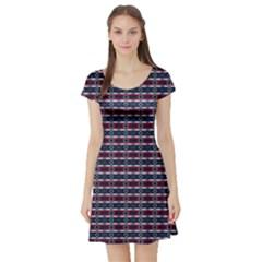 Elegant Dark Stripes Short Sleeve Skater Dress