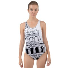 Line Art Architecture Cut Out Back One Piece Swimsuit