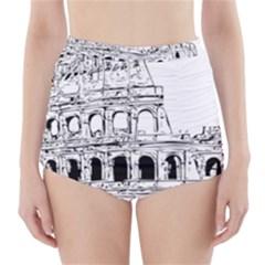 Line Art Architecture High Waisted Bikini Bottoms
