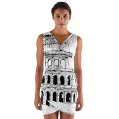 Line Art Architecture Wrap Front Bodycon Dress