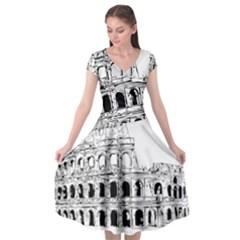 Line Art Architecture Cap Sleeve Wrap Front Dress