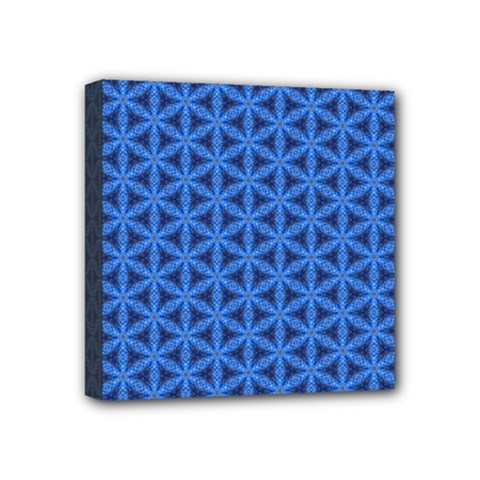 Blue Snake Scales Pattern Mini Canvas 4  X 4