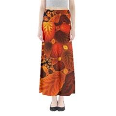 Leaf Autumn Nature Background Full Length Maxi Skirt