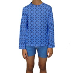 Blue Snake Scales Pattern Kids  Long Sleeve Swimwear
