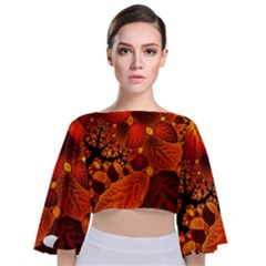 Leaf Autumn Nature Background Tie Back Butterfly Sleeve Chiffon Top