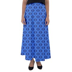 Blue Snake Scales Pattern Flared Maxi Skirt