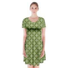 Greenville Pattern Short Sleeve V Neck Flare Dress