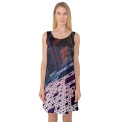 Industry Fractals Geometry Graphic Sleeveless Satin Nightdress