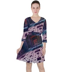 Industry Fractals Geometry Graphic Ruffle Dress