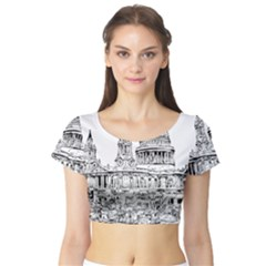 Line Art Architecture Church Short Sleeve Crop Top