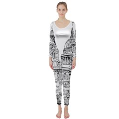 Line Art Architecture Church Long Sleeve Catsuit