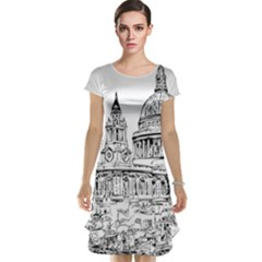 Line Art Architecture Church Cap Sleeve Nightdress