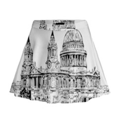 Line Art Architecture Church Mini Flare Skirt