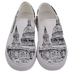 Line Art Architecture Church Men s Canvas Slip Ons