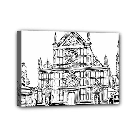 Line Art Architecture Church Italy Mini Canvas 7  X 5