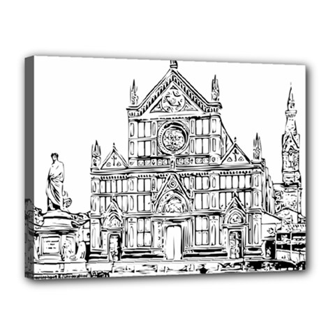 Line Art Architecture Church Italy Canvas 16  X 12