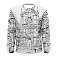 Line Art Architecture Church Italy Men s Long Sleeve Tee