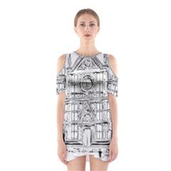 Line Art Architecture Church Italy Shoulder Cutout One Piece
