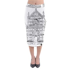 Line Art Architecture Church Italy Midi Pencil Skirt