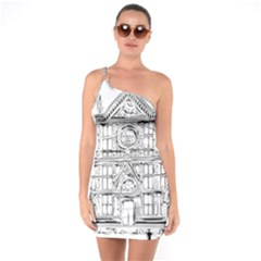 Line Art Architecture Church Italy One Soulder Bodycon Dress