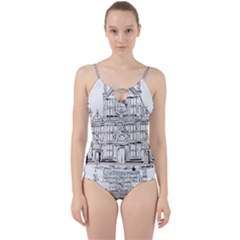 Line Art Architecture Church Italy Cut Out Top Tankini Set