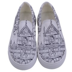 Line Art Architecture Church Italy Kids  Canvas Slip Ons