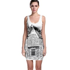 Line Art Architecture Old House Bodycon Dress