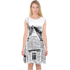 Line Art Architecture Old House Capsleeve Midi Dress