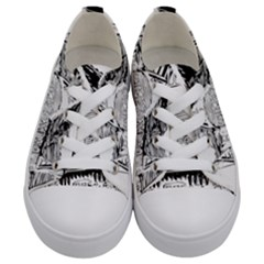 Line Art Architecture Old House Kids  Low Top Canvas Sneakers
