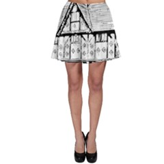 Line Art Architecture Vintage Old Skater Skirt