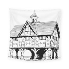 Line Art Architecture Vintage Old Square Tapestry (small)